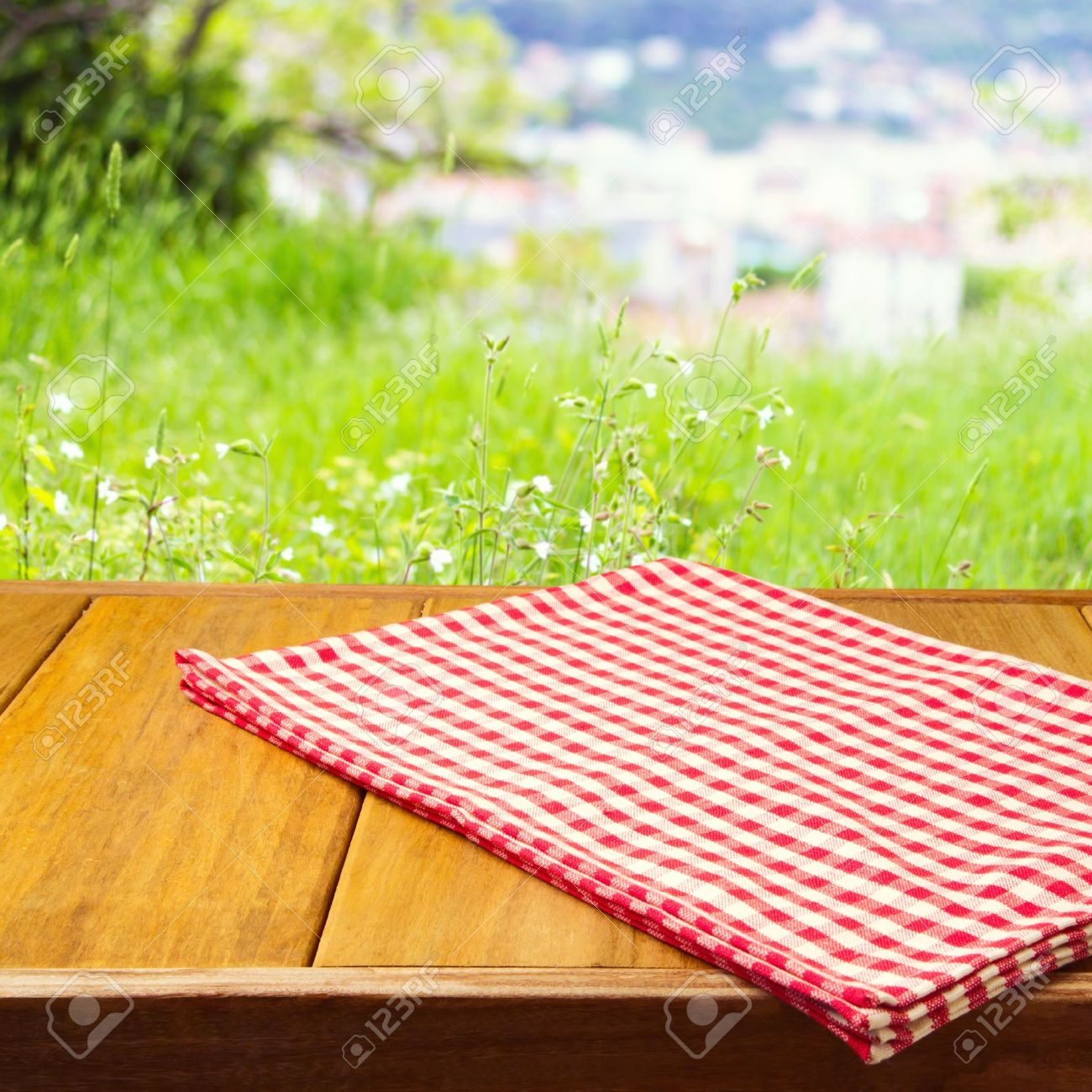 Picnic Table Background background for product montage with tablecloth on wooden table