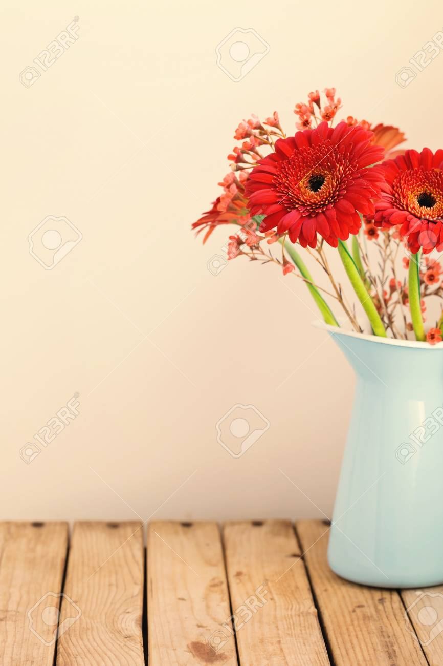 Gerbera Daisy Flower Bouquet Over Retro Background Stock Photo ...