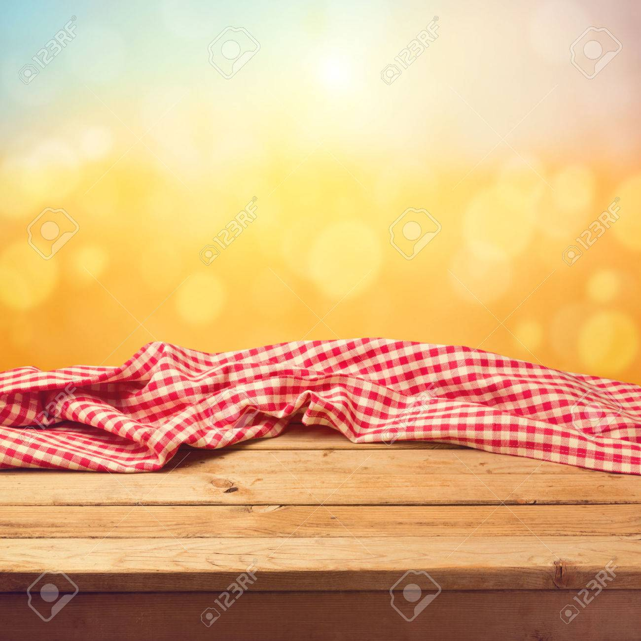 Picnic table background - Picnic Background Empty Wooden Deck Table With Tablecloth Sunset Bokeh Background
