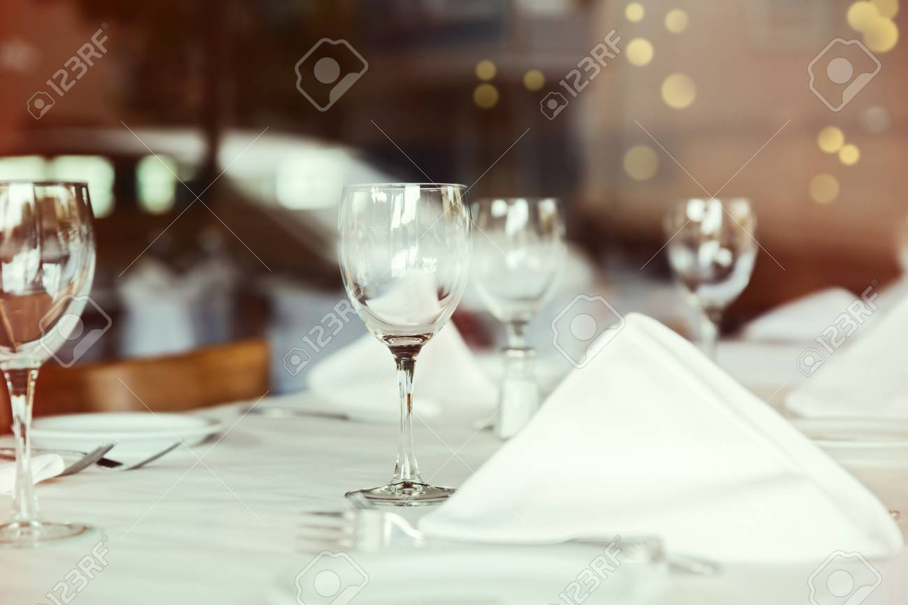 Restaurant Table Setting With Wine Glass Selective Focus On Stock - Wine glass table setting