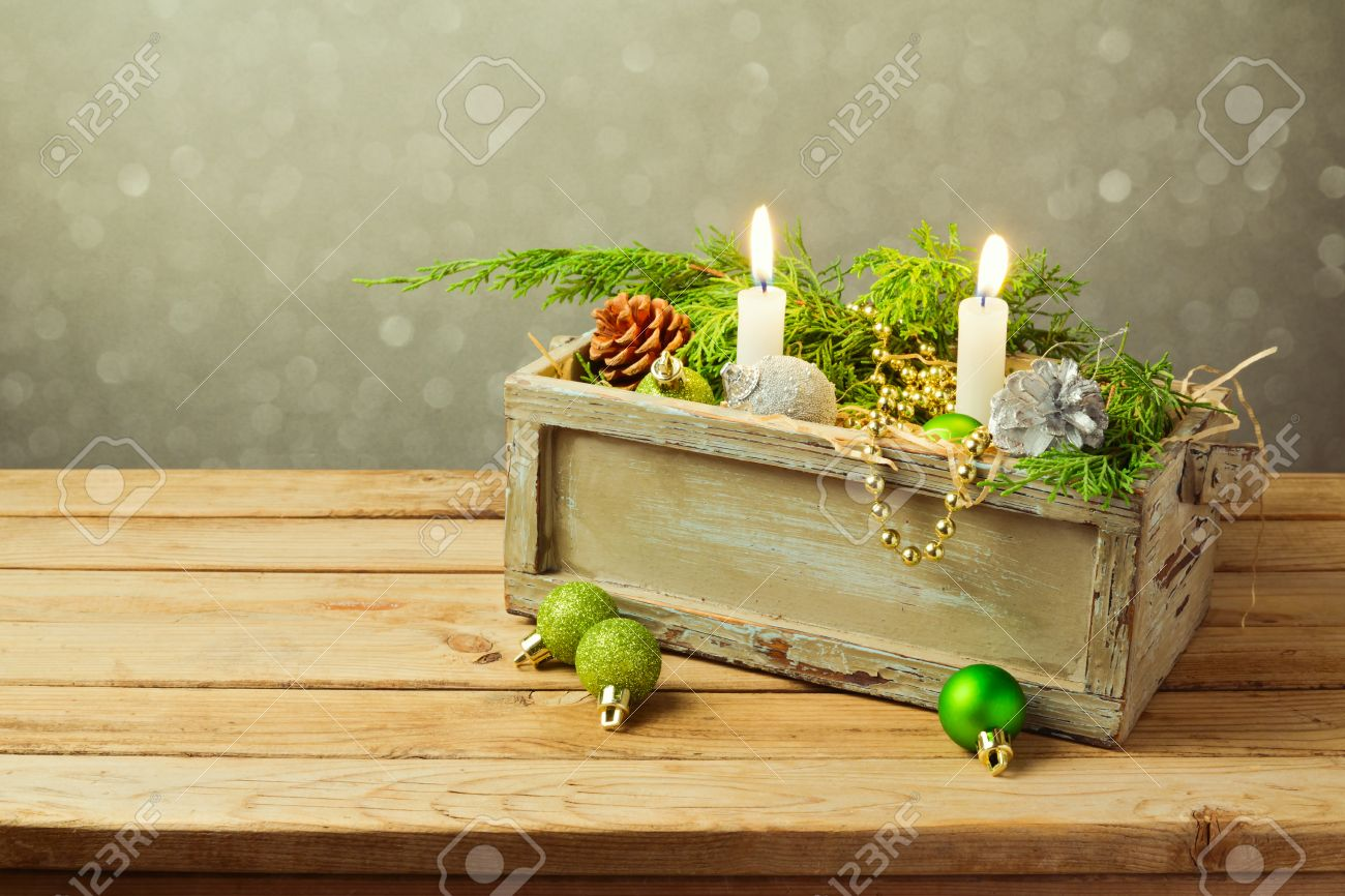 Wooden Box With Christmas Decorations And Candles Stock Photo ...