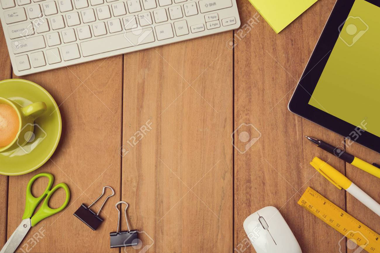 business background for office desk mock up template view from