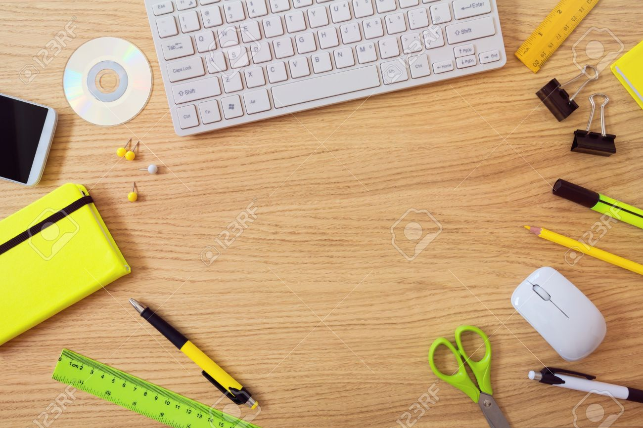 office desk template keyboard and office items view from office desk template keyboard and office items view from above stock photo 41181480