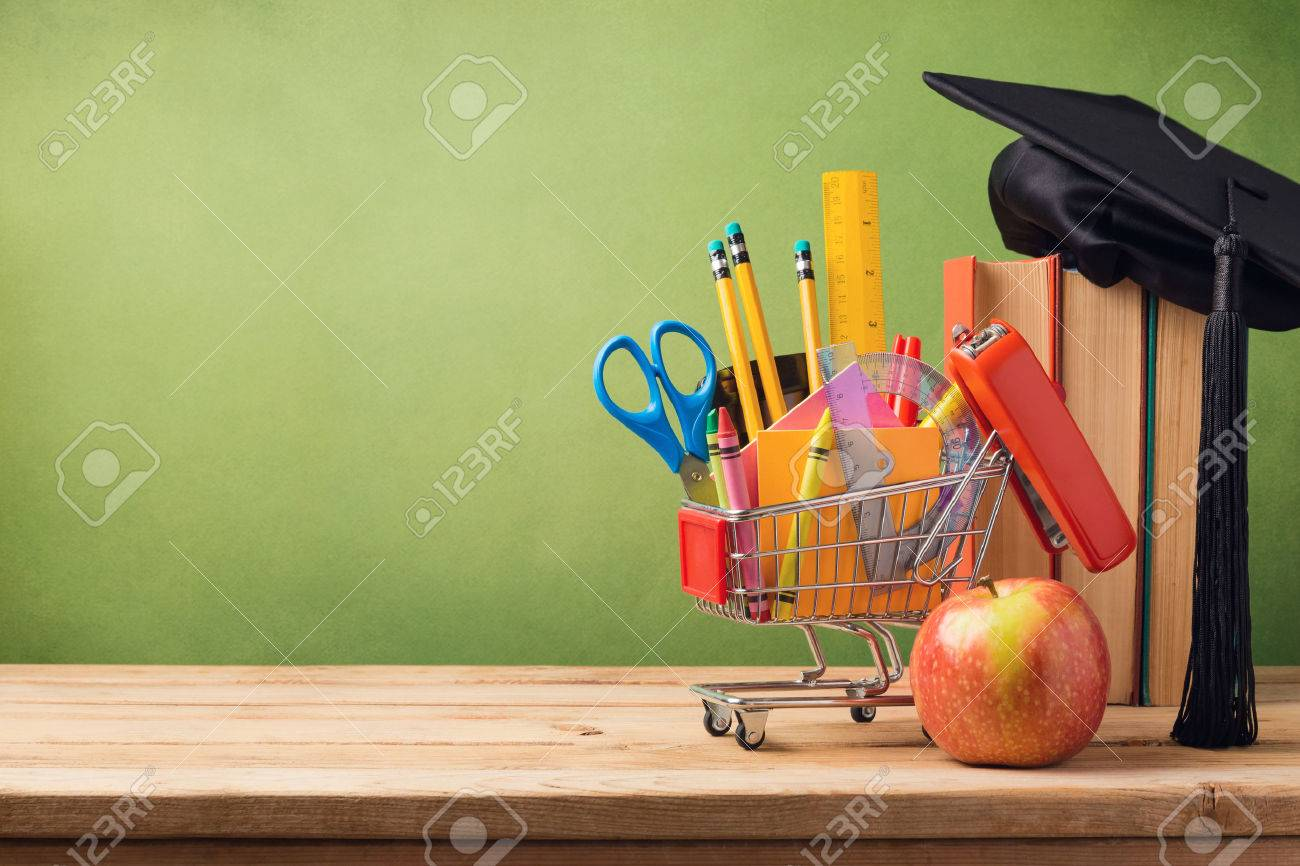 Back to school concept with shopping cart, books and graduation hat Stock Photo - 43526464