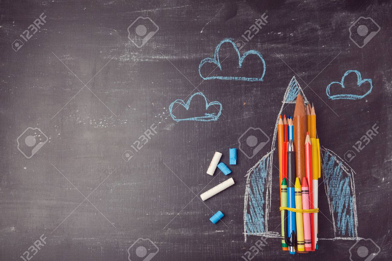 Back to school background with rocket made from pencils. View from above Stock Photo - 44193287
