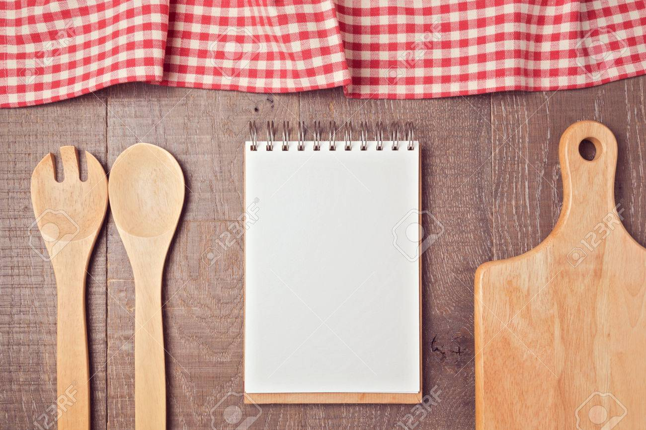 notebook mock up template with kitchen utensils and tablecloth