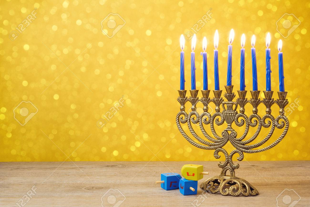 Hanukkah Candles Stock Photos Royalty Free Images Menorah Lighting Diagram Jewish Holiday Background With Vintage And Spining Top Dreidel Over Lights Bokeh