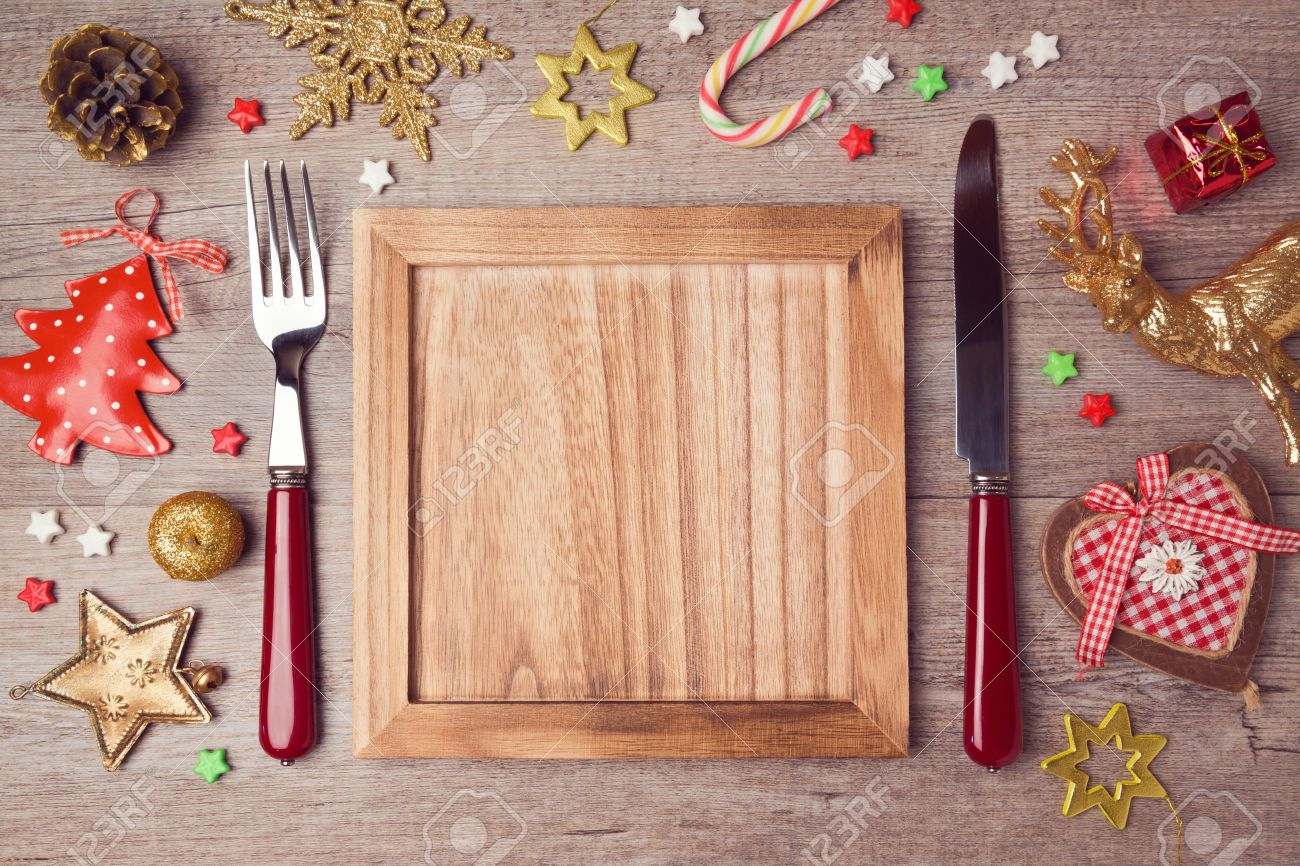 Rustic Christmas Decorations Wooden Empty Plate With Rustic Christmas Decorations Menu
