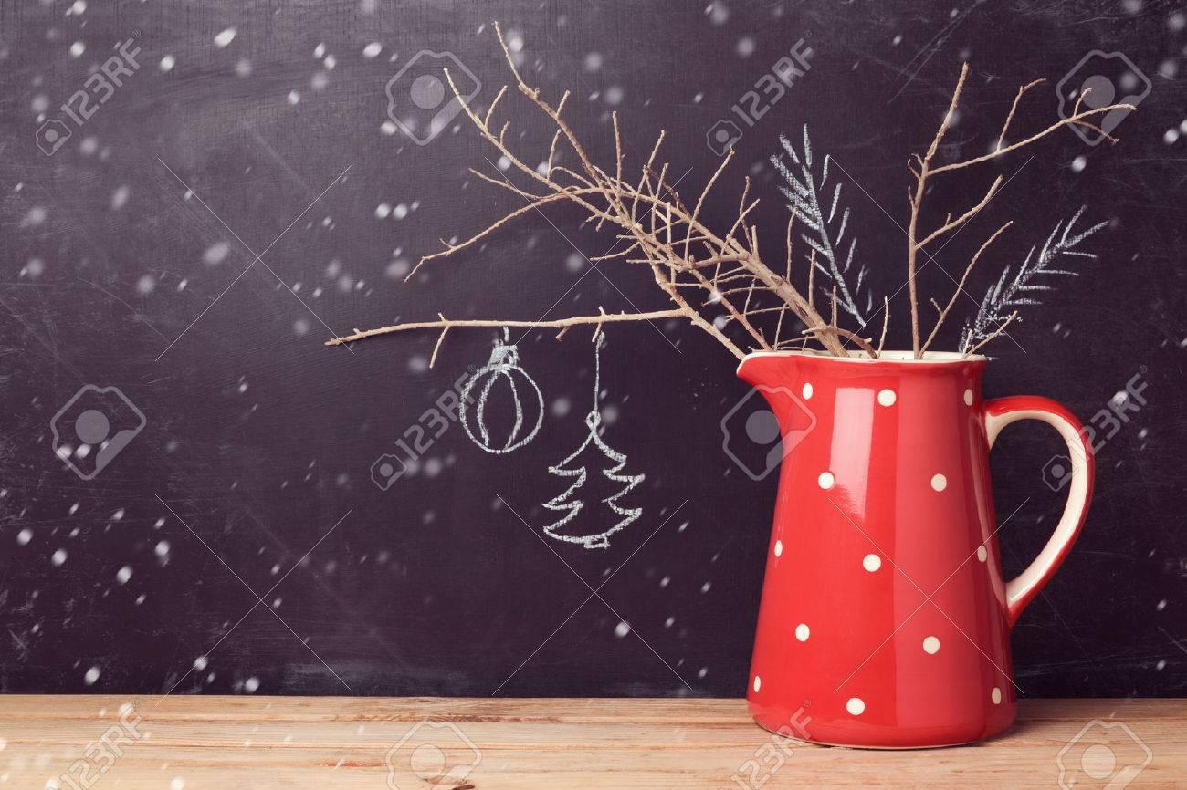 Alternative Christmas Decorations.Christmas Background With Jug Over Chalkboard Creative Christmas