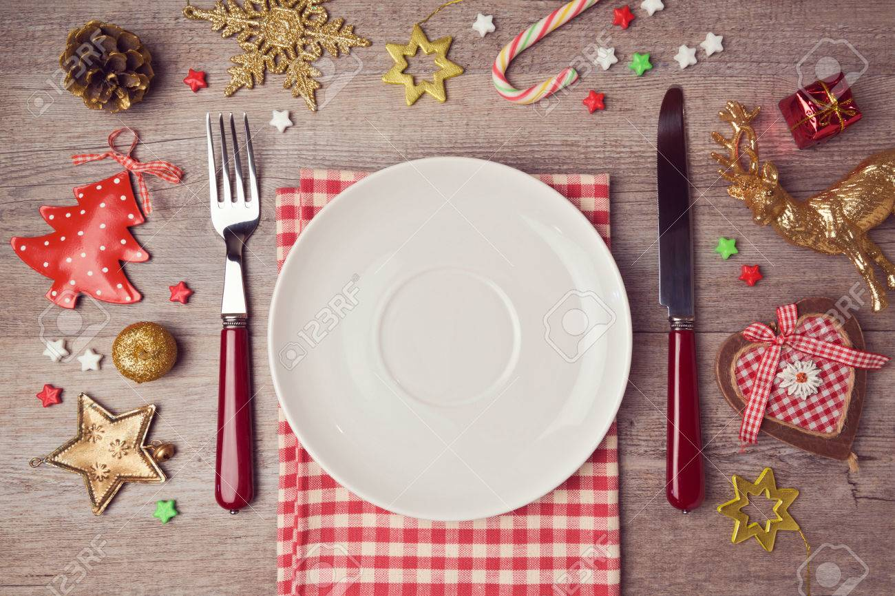 Christmas dinner background with rustic decorations. View from above - 47514795