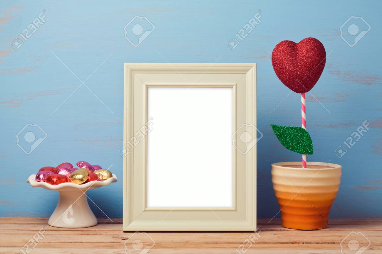 poster mock up template for valentine s day with heart shape stock