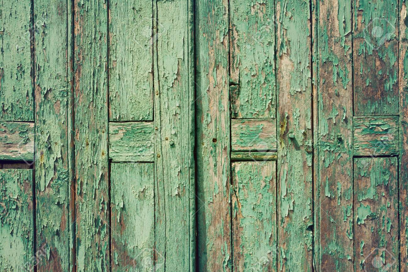 Wooden Rustic Background With Old Green Planks Vintage Door Stock