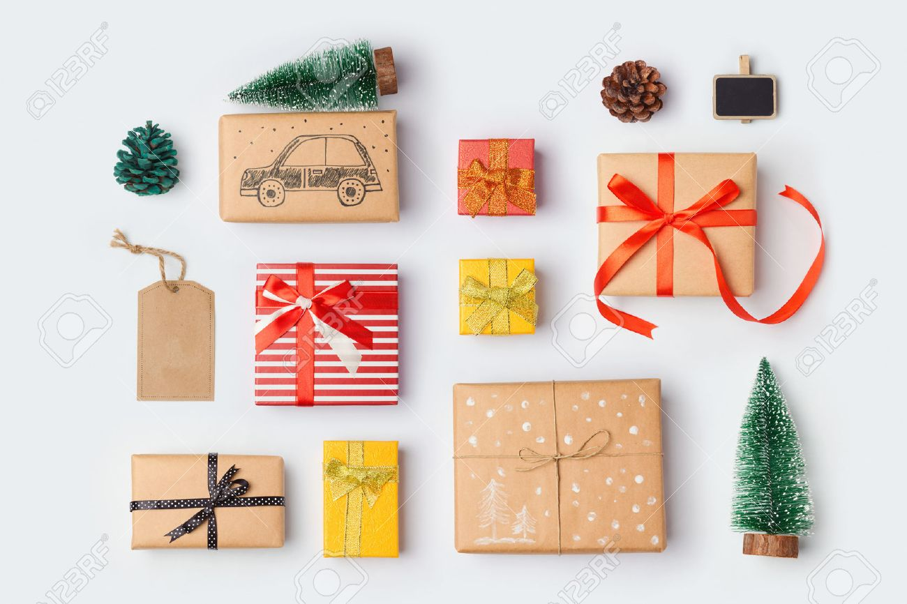 Christmas gift boxes collection with pine tree for mock up christmas gift boxes collection with pine tree for mock up template design view from above negle Image collections