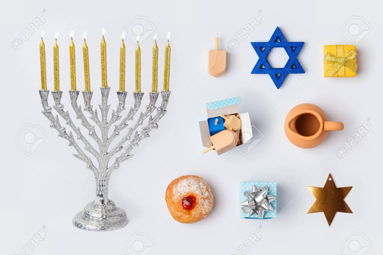 Hanukkah Menorah And Objects For Mock Up Template Design.View ...
