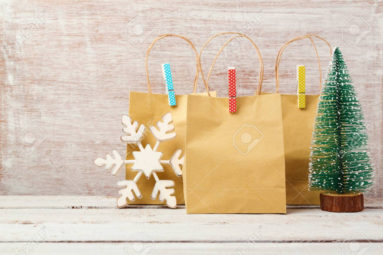 Christmas Background With Gift Bags. Christmas Sale And Shopping ...