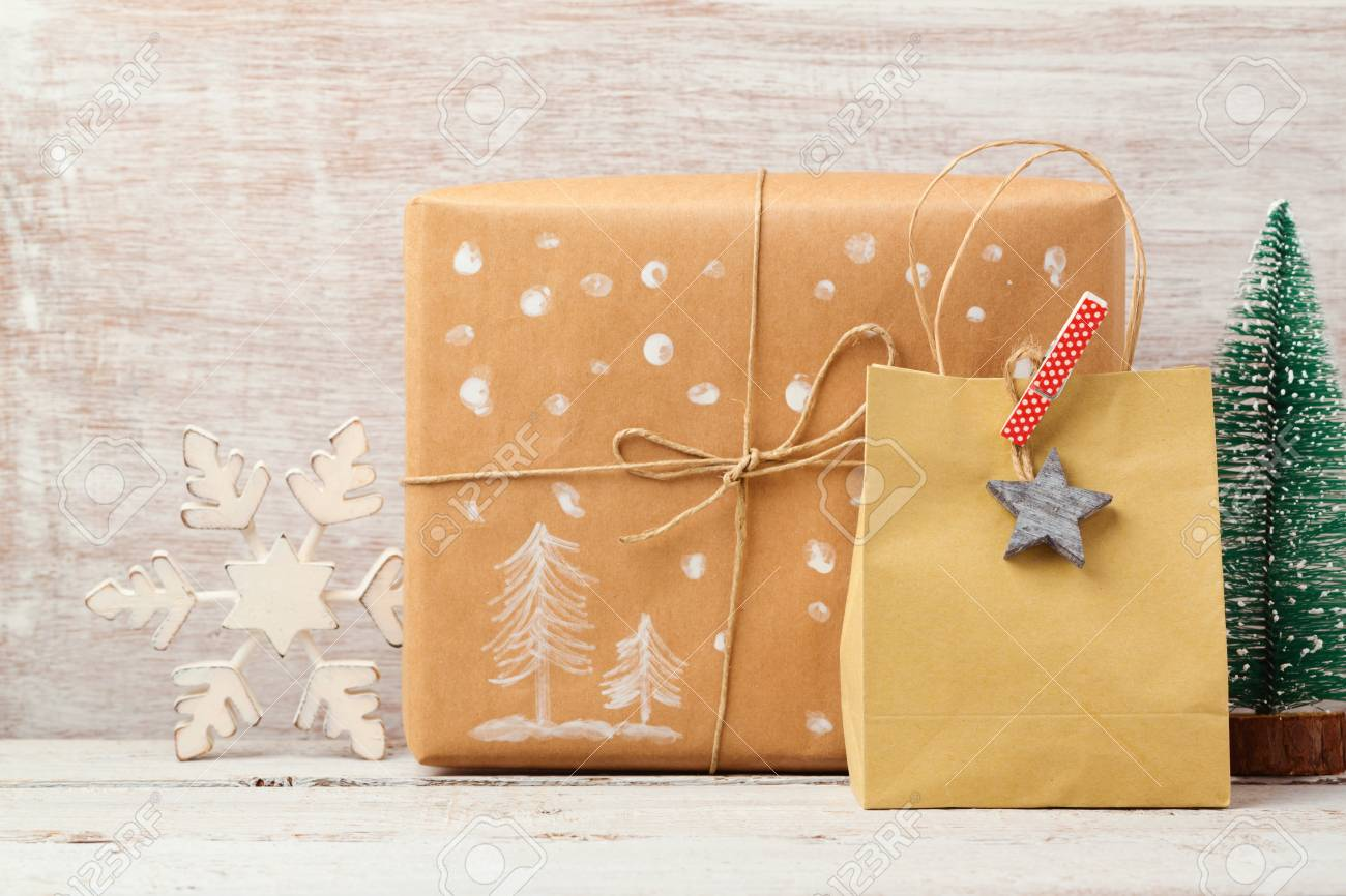 Christmas Background With Homemade Gift Bag, Box And Rustic ...