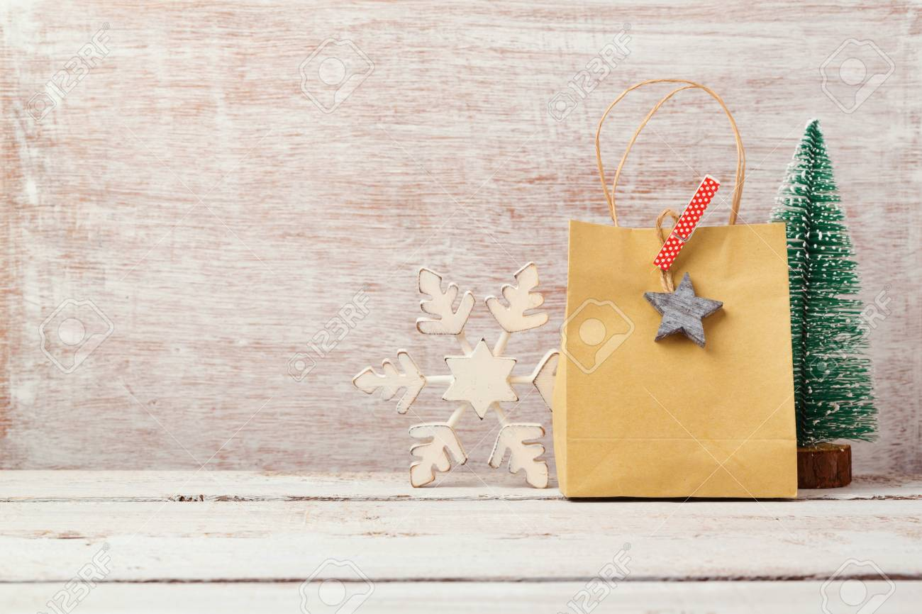 Christmas Background With Homemade Gift Bag And Rustic Decorations ...