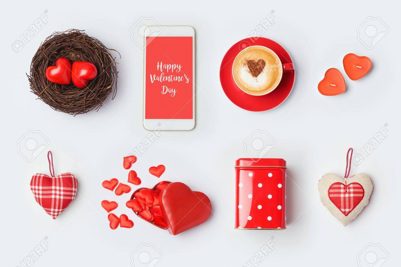 Valentine S Day Mock Up Template Design Love Symbols And Objects