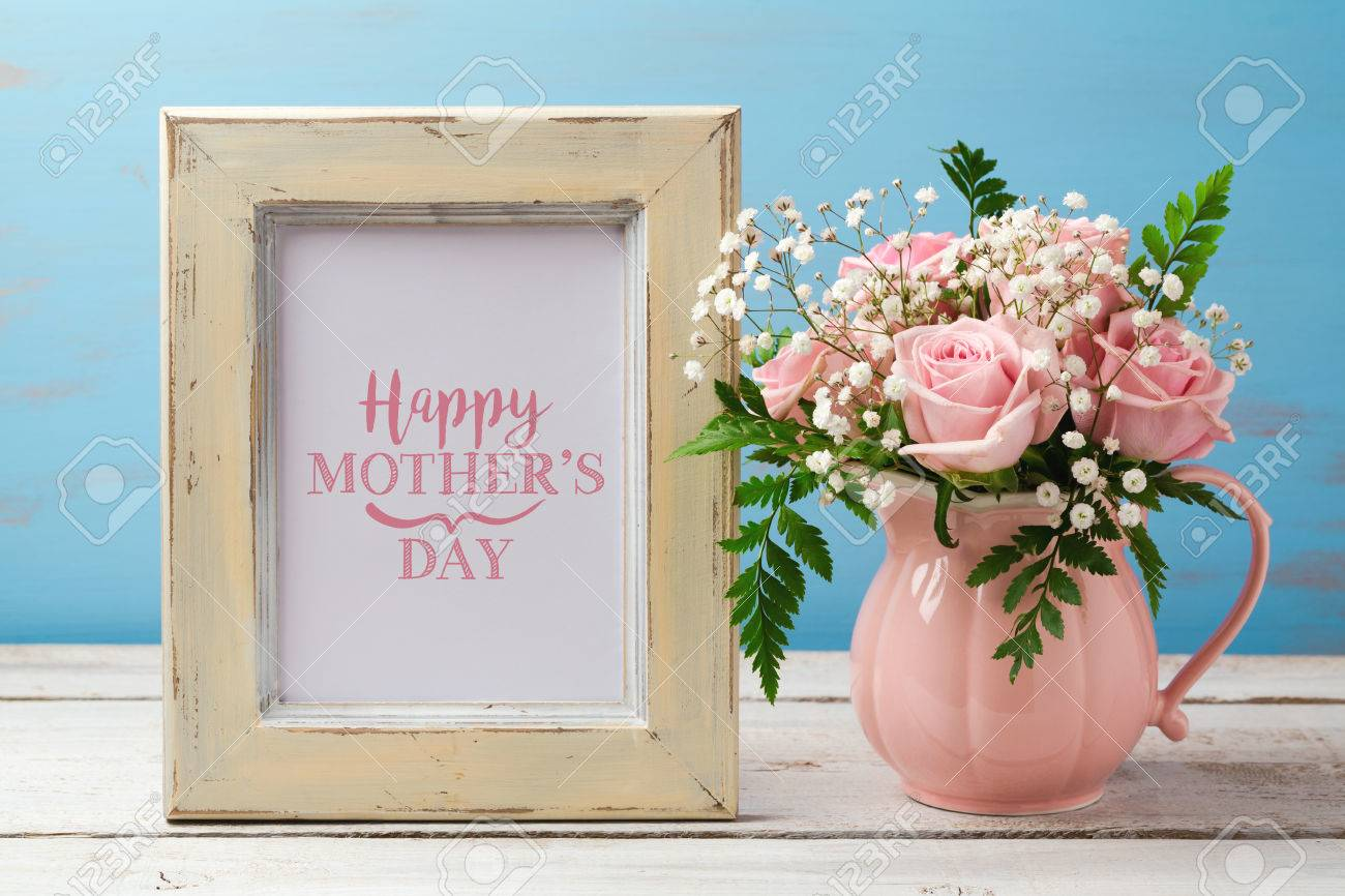 Mothers Day Greeting Card With Pink Rose Flower Bouquet And Photo Stock Photo Picture And Royalty Free Image Image 75785878