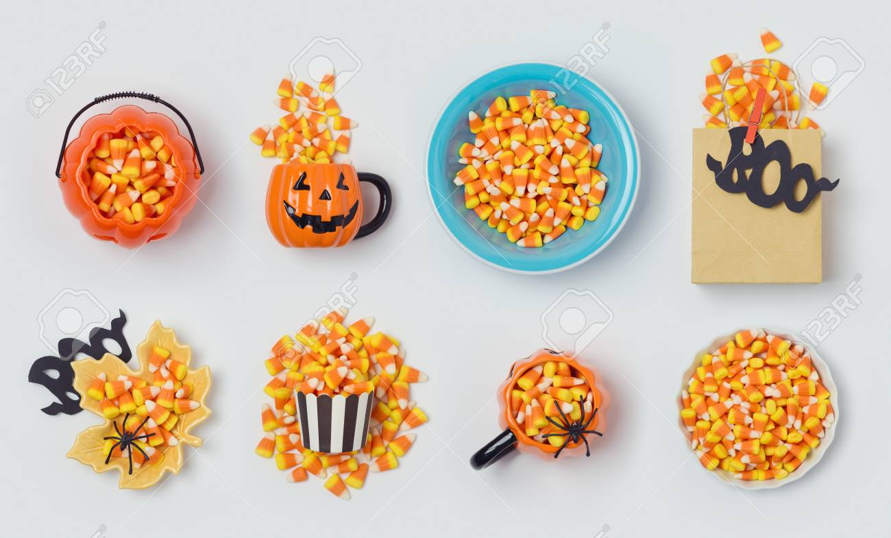 halloween holiday candy corn collection for mock up template design view from above flat