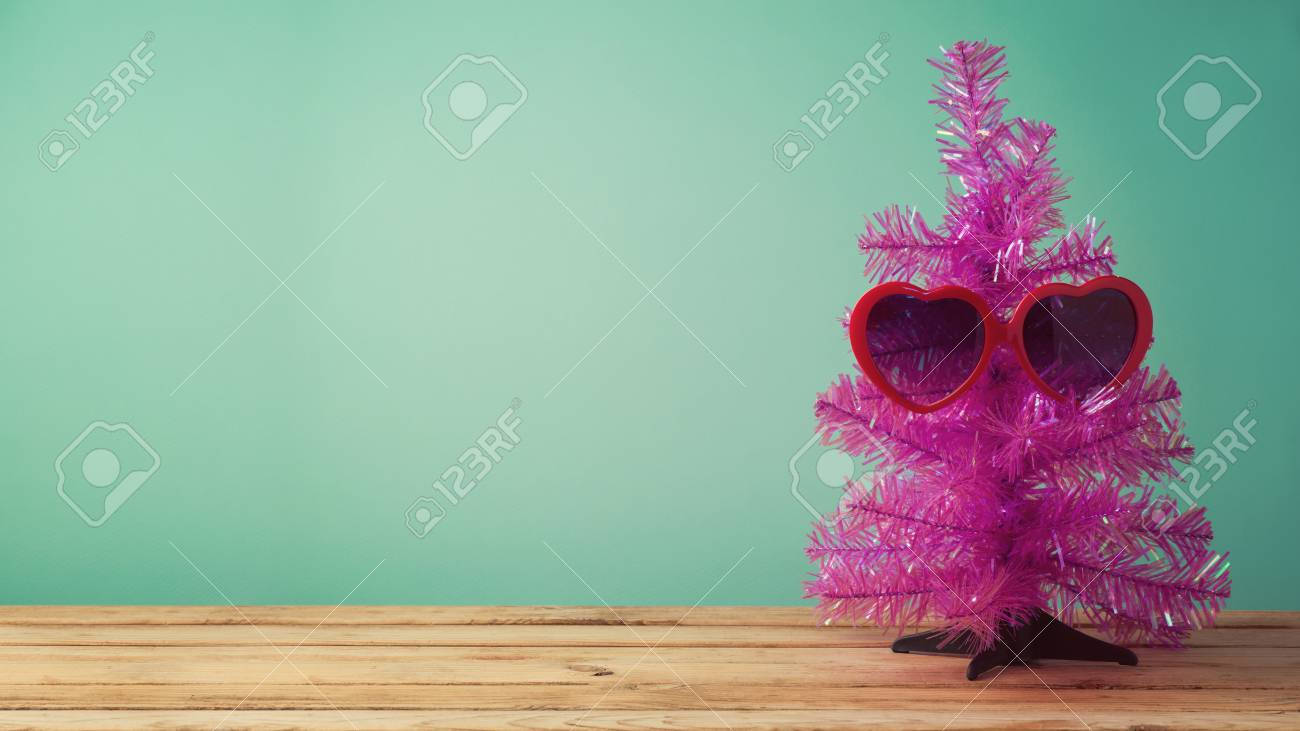 Christmas In July Concept With Funny Christmas Tree And Sunglasses