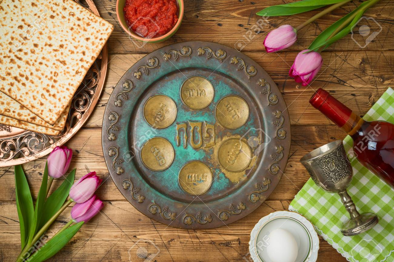 Jewish Holiday Passover Background With Matzo Seder Plate Wine Stock Photo Picture And Royalty Free Image Image 119135710