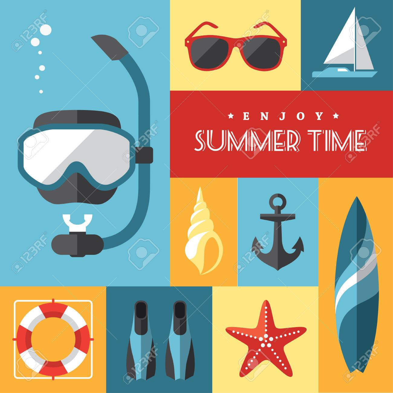 Set of colored flat summer icons num.1 on marine and sports themes Stock Vector - 29454916