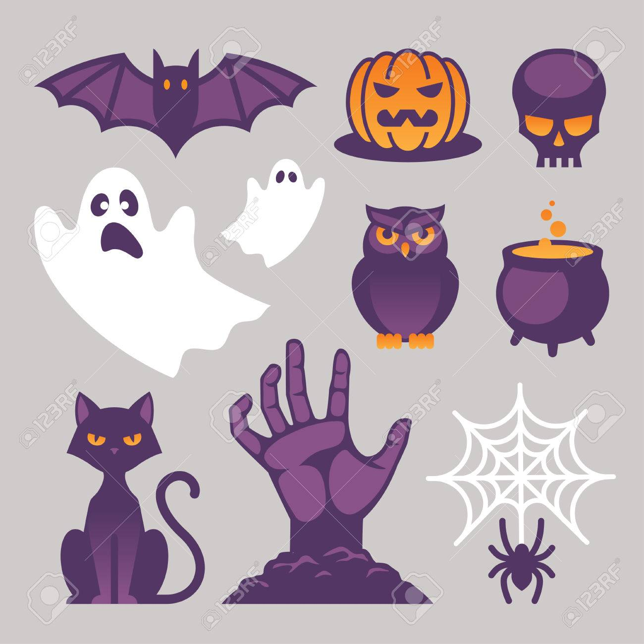 Set Of Bright Halloween Icons, Signs And Symbols With Cat, Bat ...