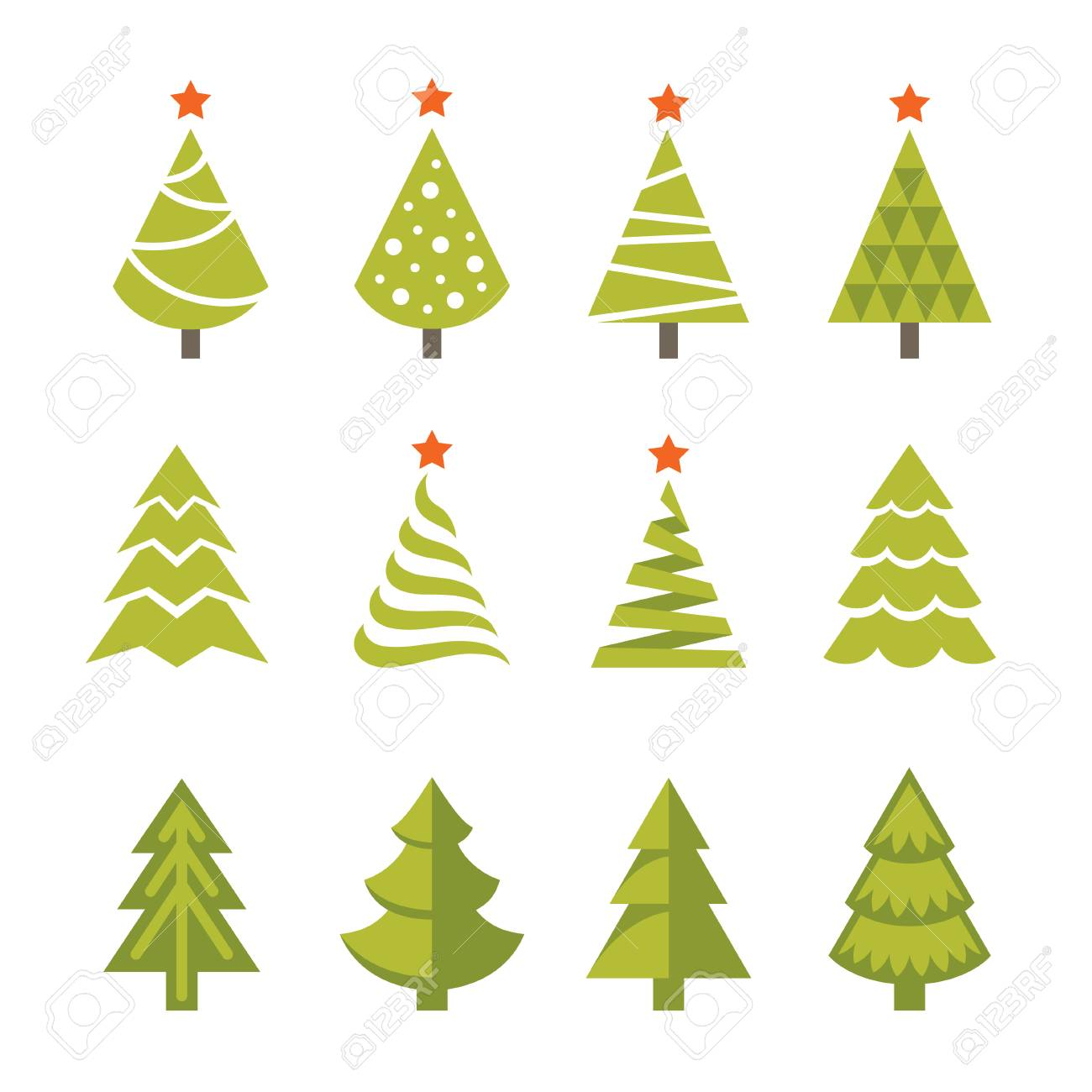 Set Of Bright Green Christmas Fir And Spruce Trees Icons Symbols