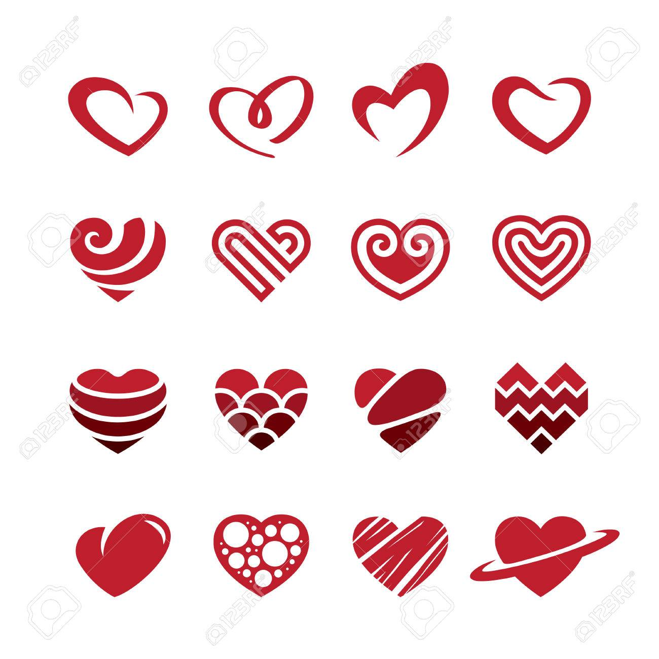 Set Of Red Heart Icons Logos Signs And Symbols For Love Romantic