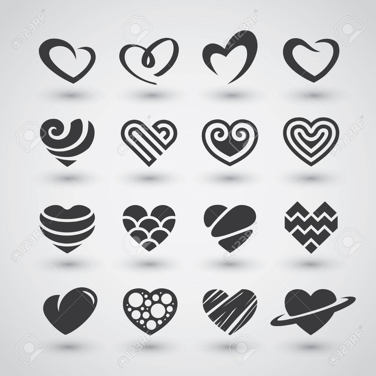 Set Of Black Heart Icons Logos Signs And Symbols For Love