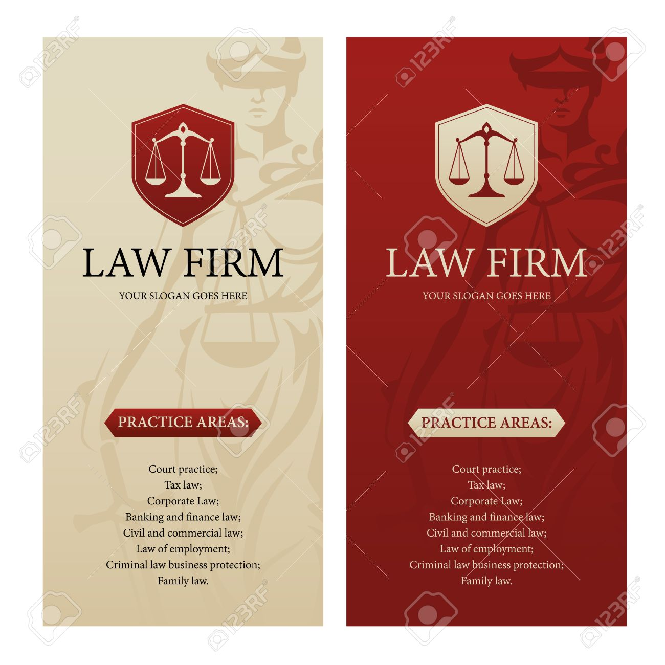 Great Vertical Design Template For Law Office, Firm Or Company With Justice  Scales Logo And Themis