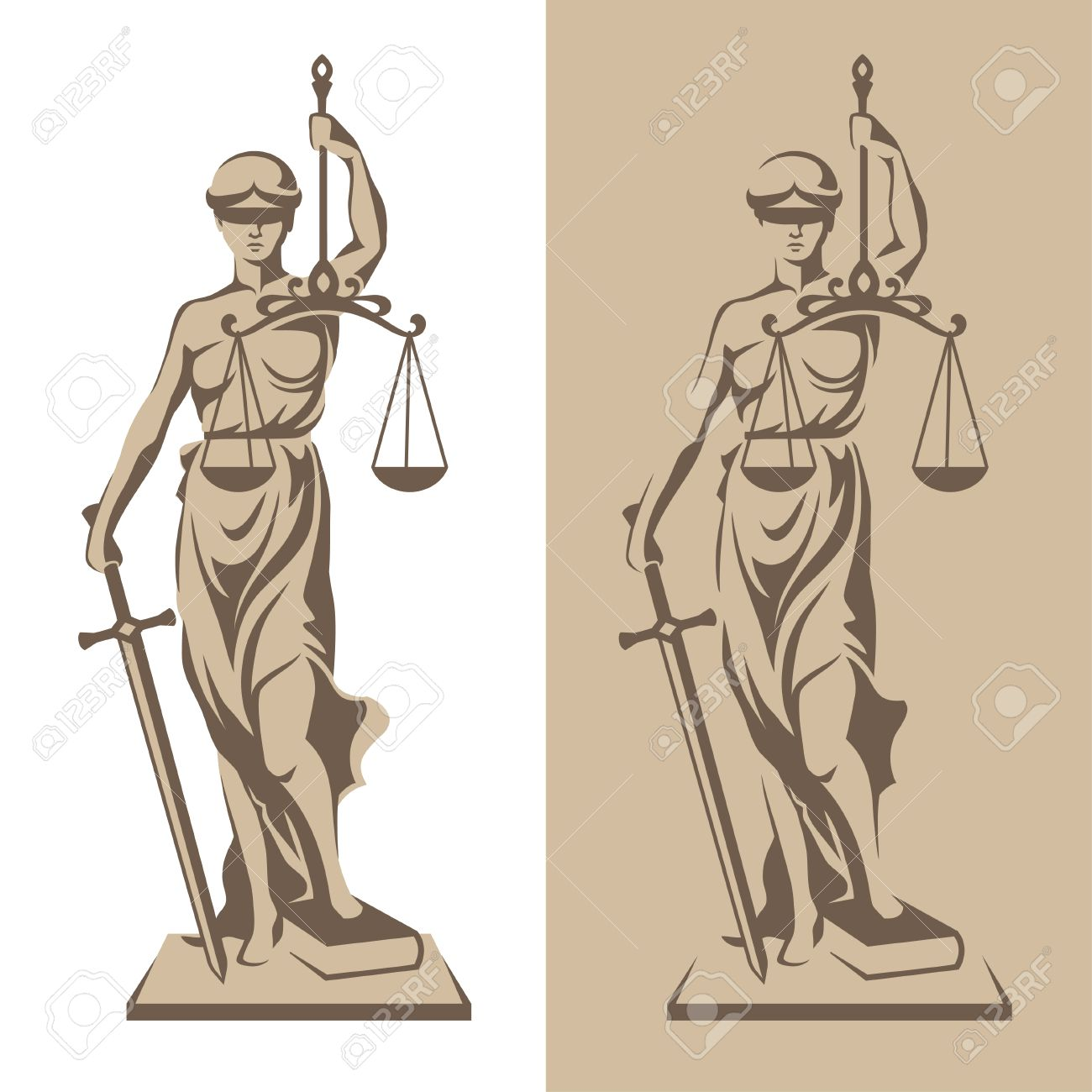 Vector illustration of Themis statue holding scales balance and sword isolated on white background and silhouette on colored background. Symbol of justice, law and order - 52701479