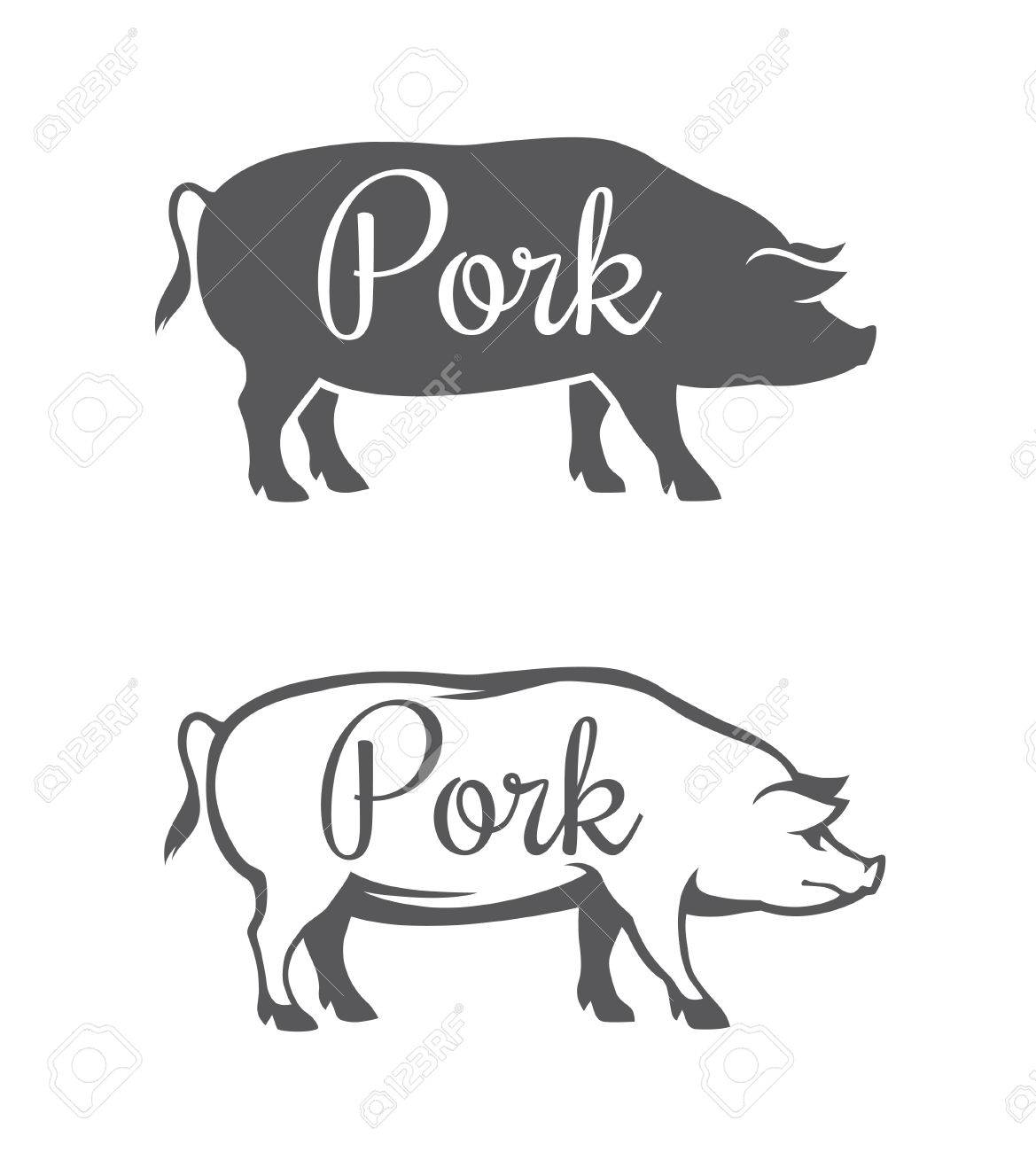 Black Pig Silhouette And Outline Illustration For Pork Meat Or Royalty Free Cliparts Vectors And Stock Illustration Image 53797973 Download 864 silhouette pigs stock illustrations, vectors & clipart for free or amazingly low rates! black pig silhouette and outline illustration for pork meat or