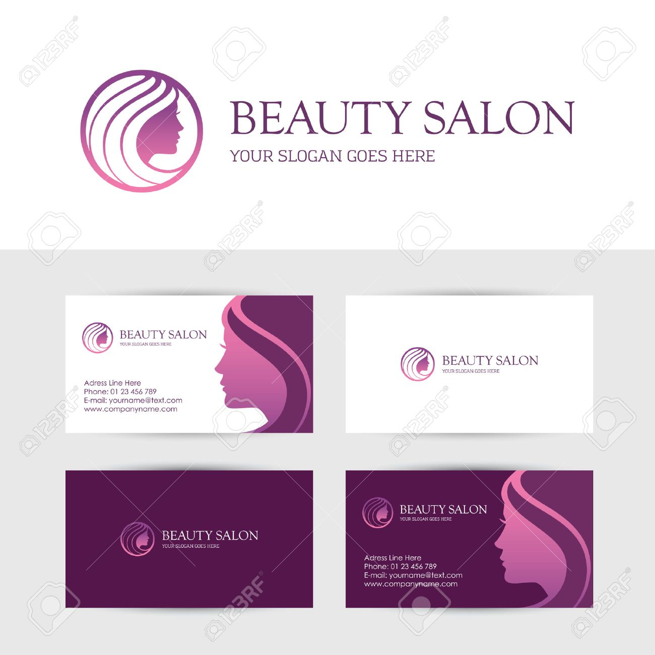 Business Card Design Template For Beauty Or Hair Salon, Spa ...