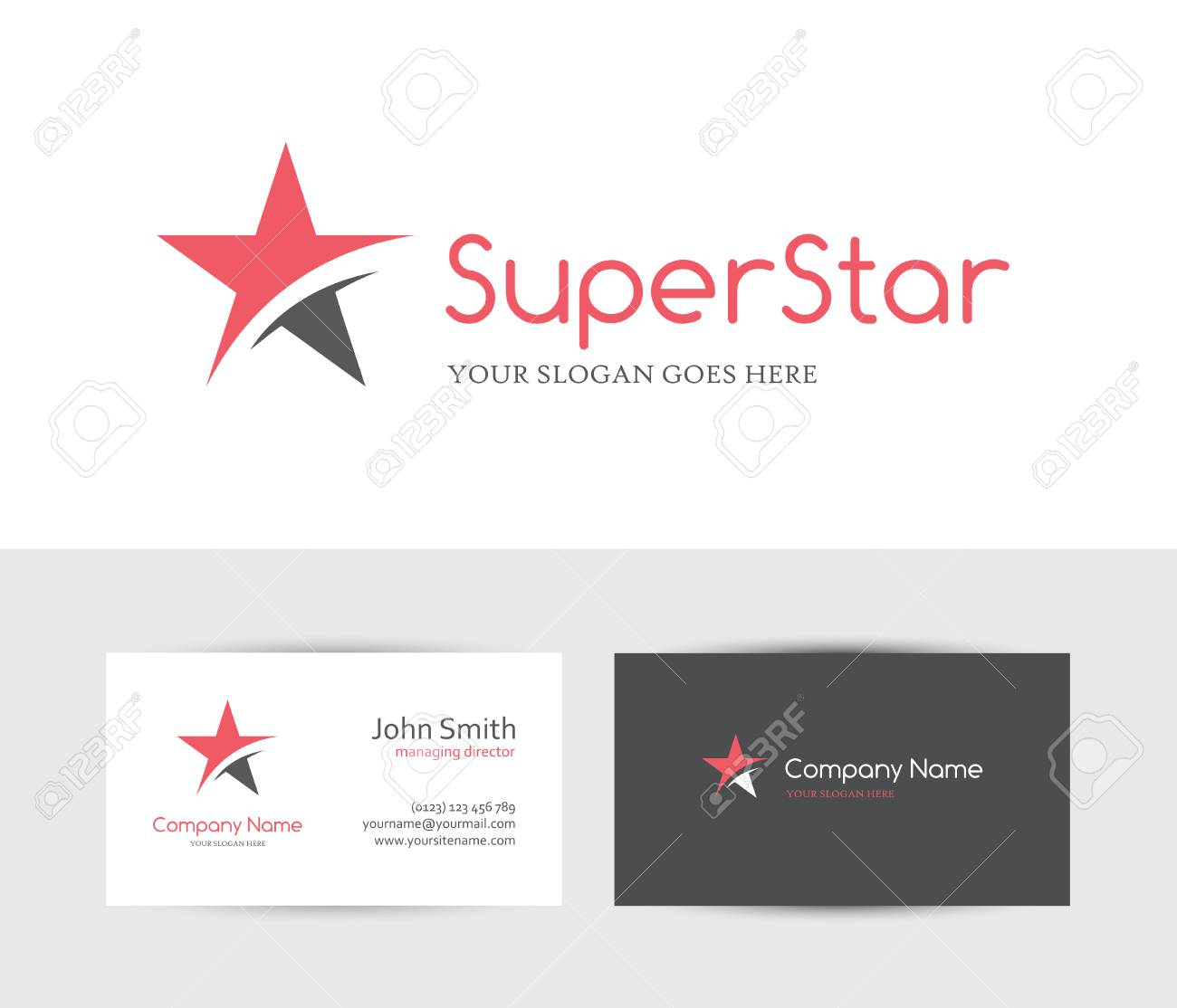 Red star and business card design template royalty free cliparts red star and business card design template stock vector 55492891 reheart Images