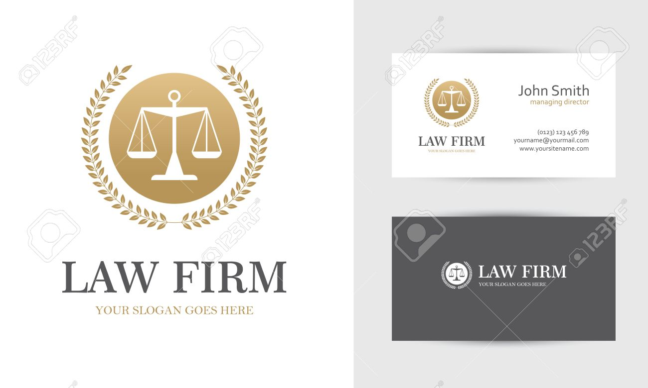 Law with scales and wreath in golden colors business card design law with scales and wreath in golden colors business card design templates for law firm reheart Choice Image
