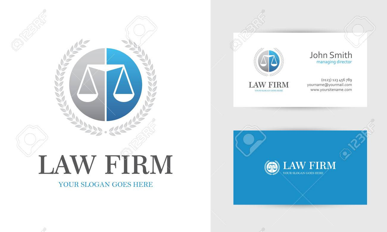 Law with scales and wreath in blue and gray colors business law with scales and wreath in blue and gray colors business card design templates for reheart Gallery