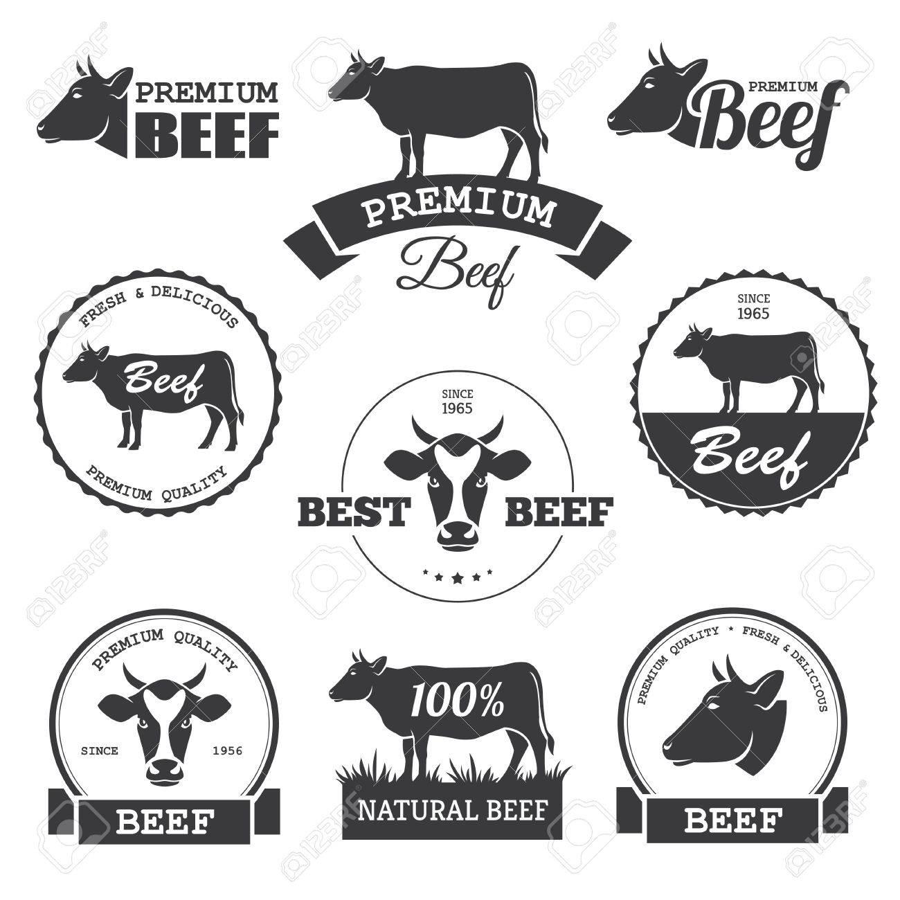 黒毛和牛ベクトルのラベルをセットします。