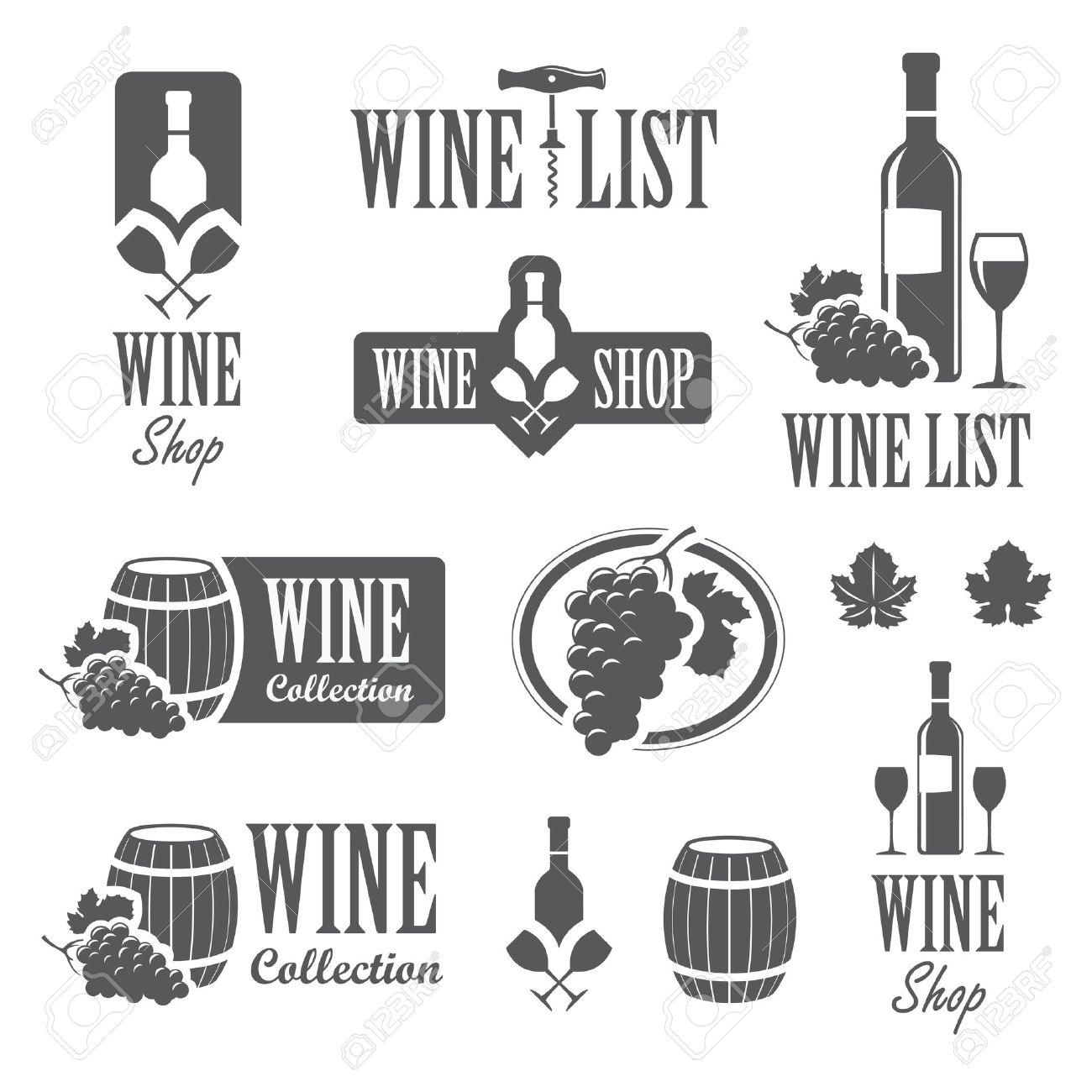 Set of wine signs, badges and labels - 57900707