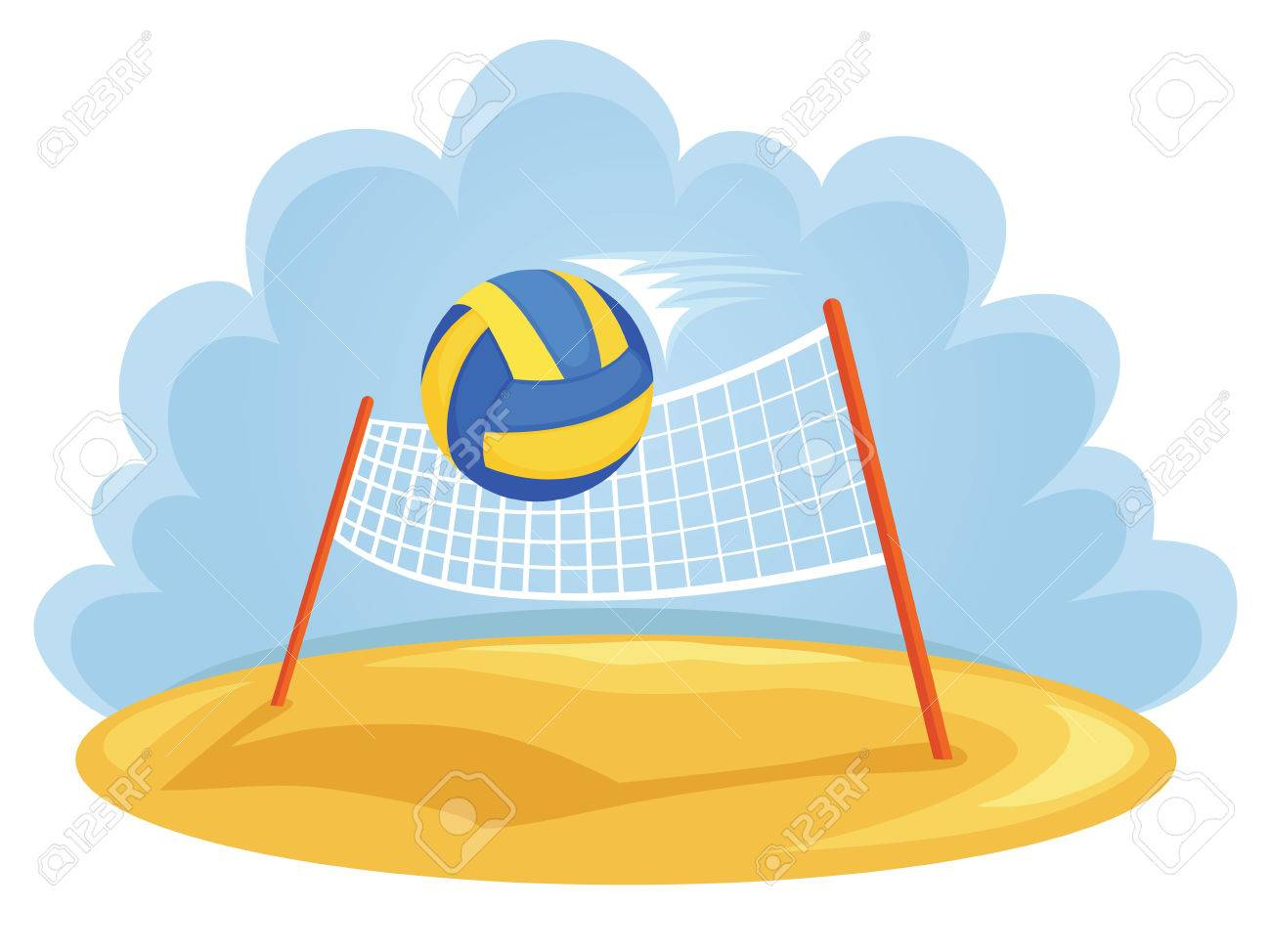 Vector Illustartion Of Ball And Volleyball Net Royalty Free Cliparts Vectors And Stock Illustration Image 57900852