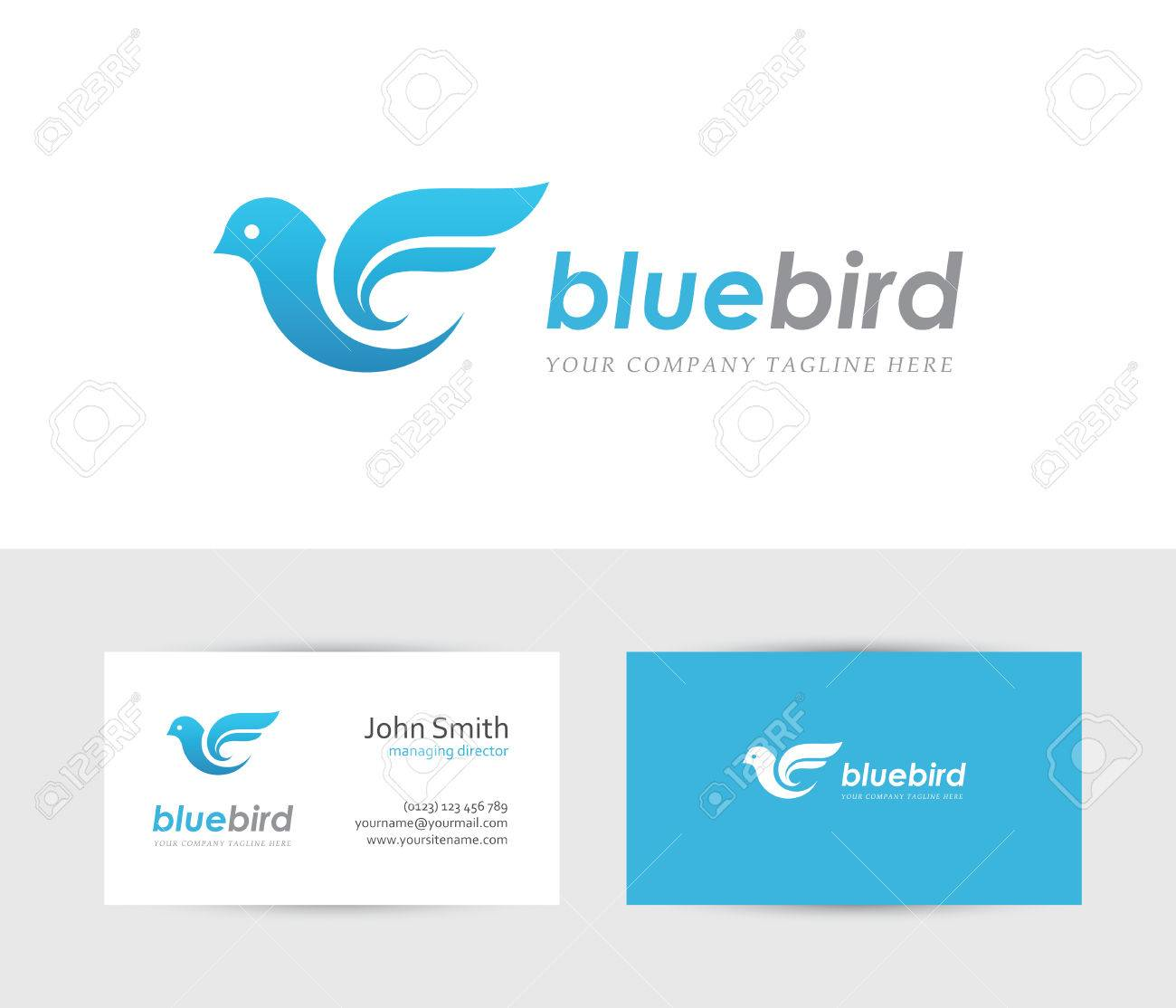 Abstract Blue Bird Icon With Business Card Design Template. Can ...