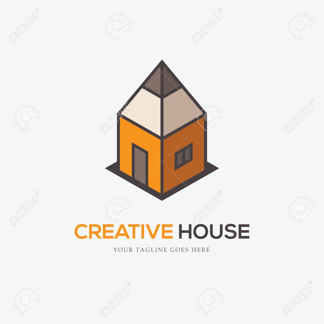 Creative-Logo Mit Bleistift Wie Ein Haus Suchen. Kann Für Innen ...