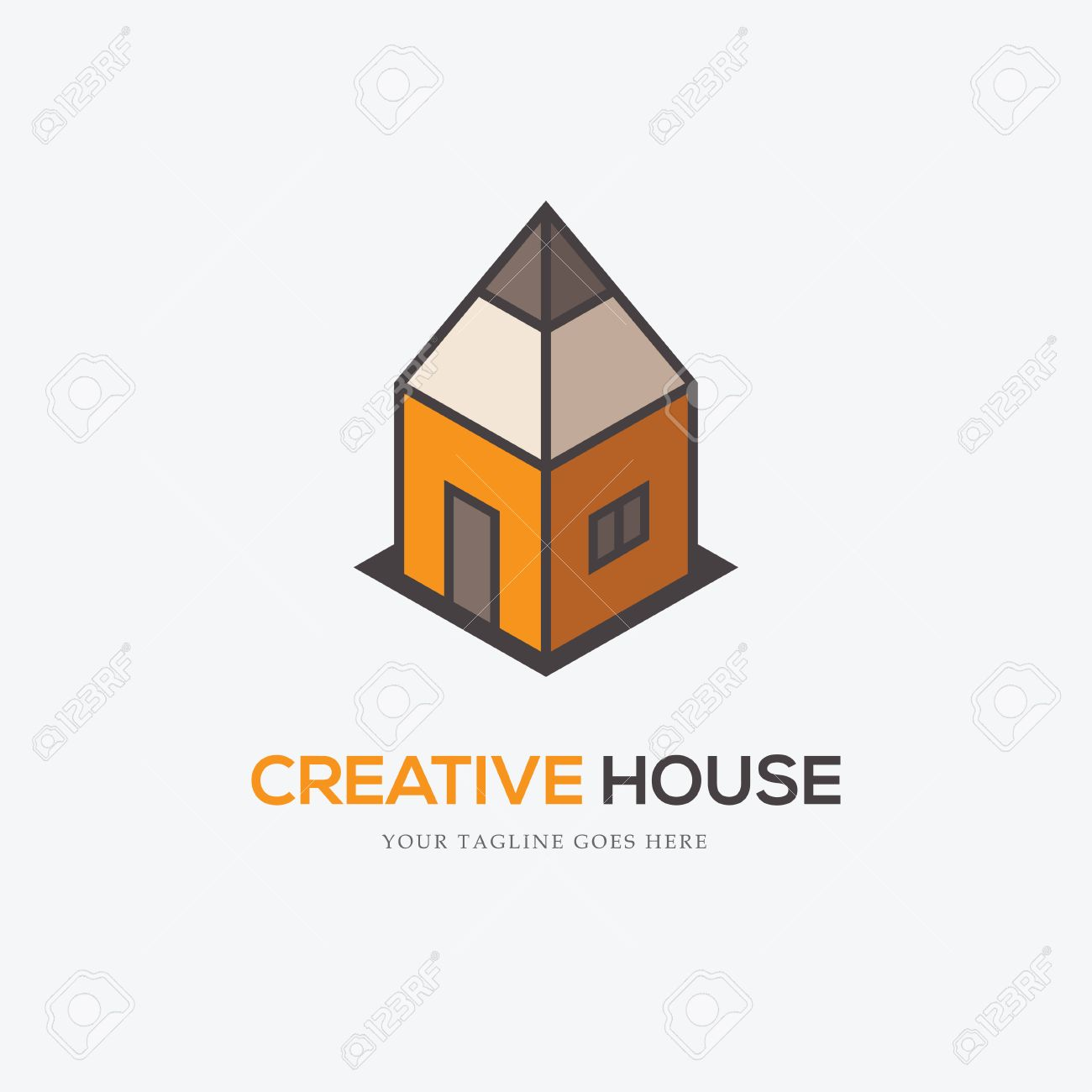 Awesome Creative Logo With Pencil Looking Like A House. Can Be Used For Interior Or  Exterior