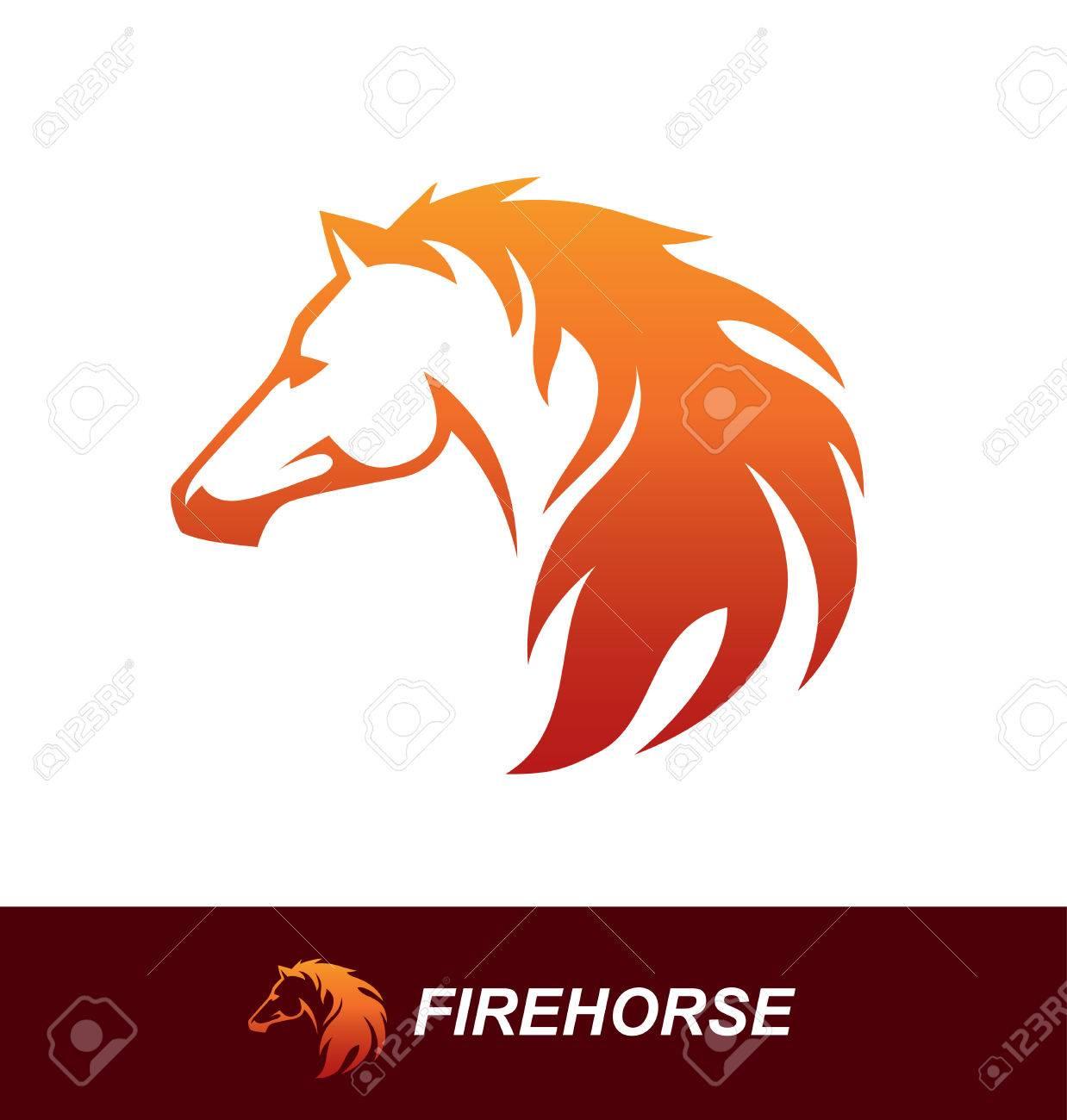 Pferdekopf Mit Einer Mähne Sah Aus Wie Ein Feuerflamme