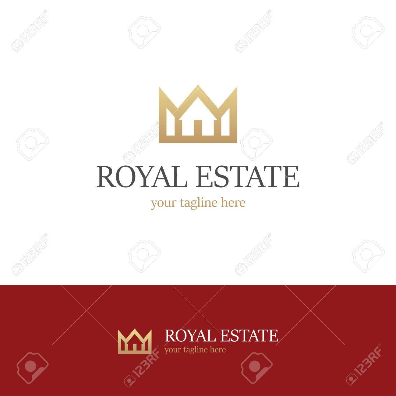 Logo D Or Avec Maison Et Couronne Sur Fond Blanc Et Rouge Icone Royale Immobiliere Clip Art Libres De Droits Vecteurs Et Illustration Image 68720722