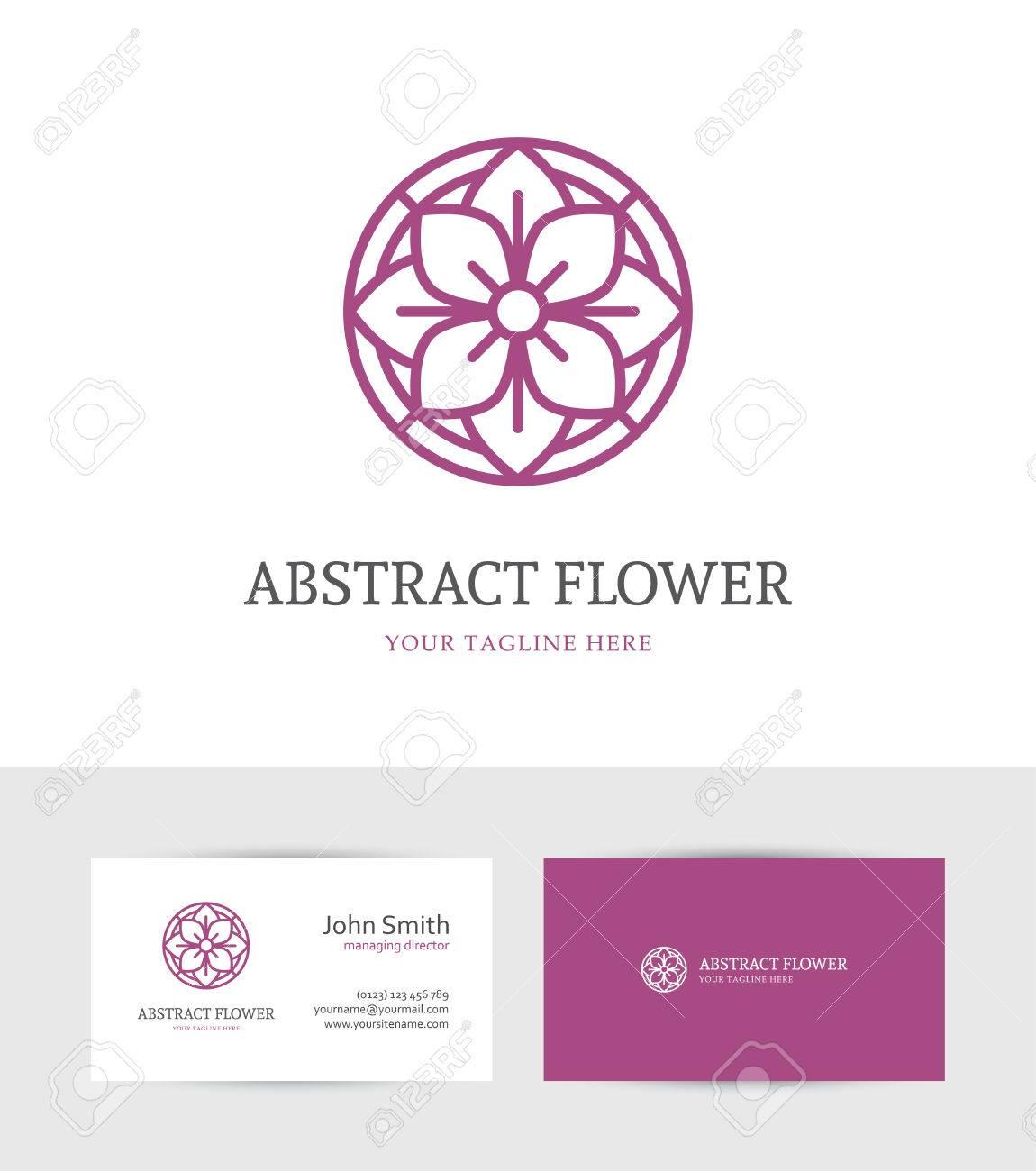 Lineaire Pourpre Abstrait Logo Fleur Et Carte De Visite Modele