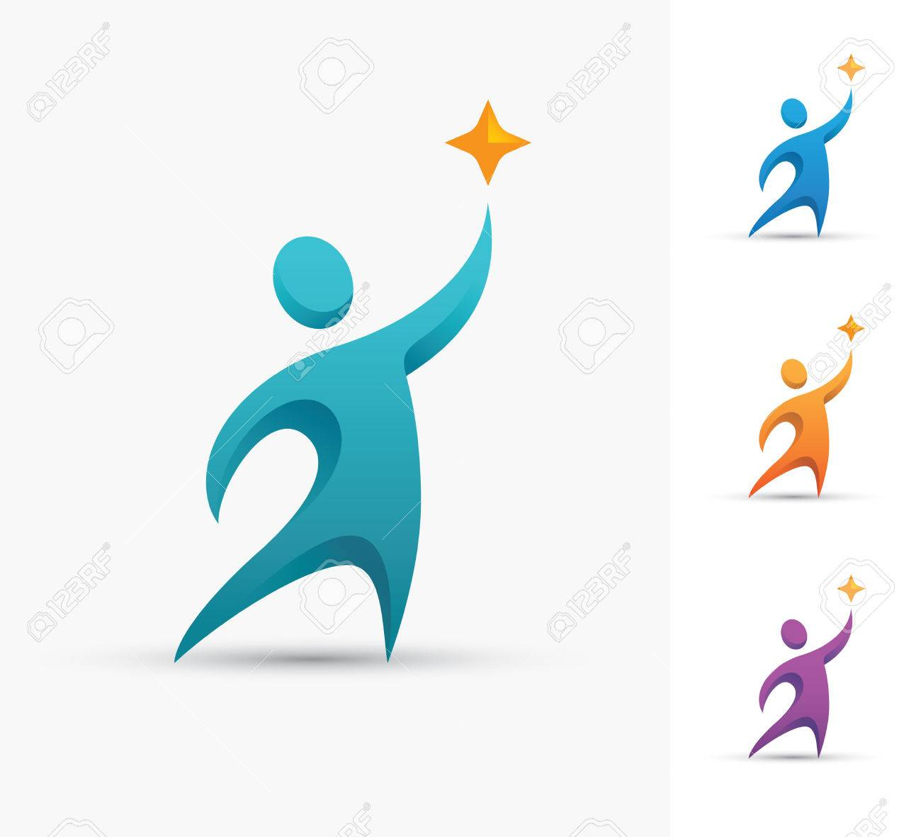 Human logo with star  Champion or winner icon  Success and successful