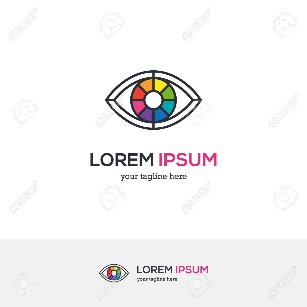 Colorful Eye Logo Looking Like A Color Wheel Royalty Free Cliparts