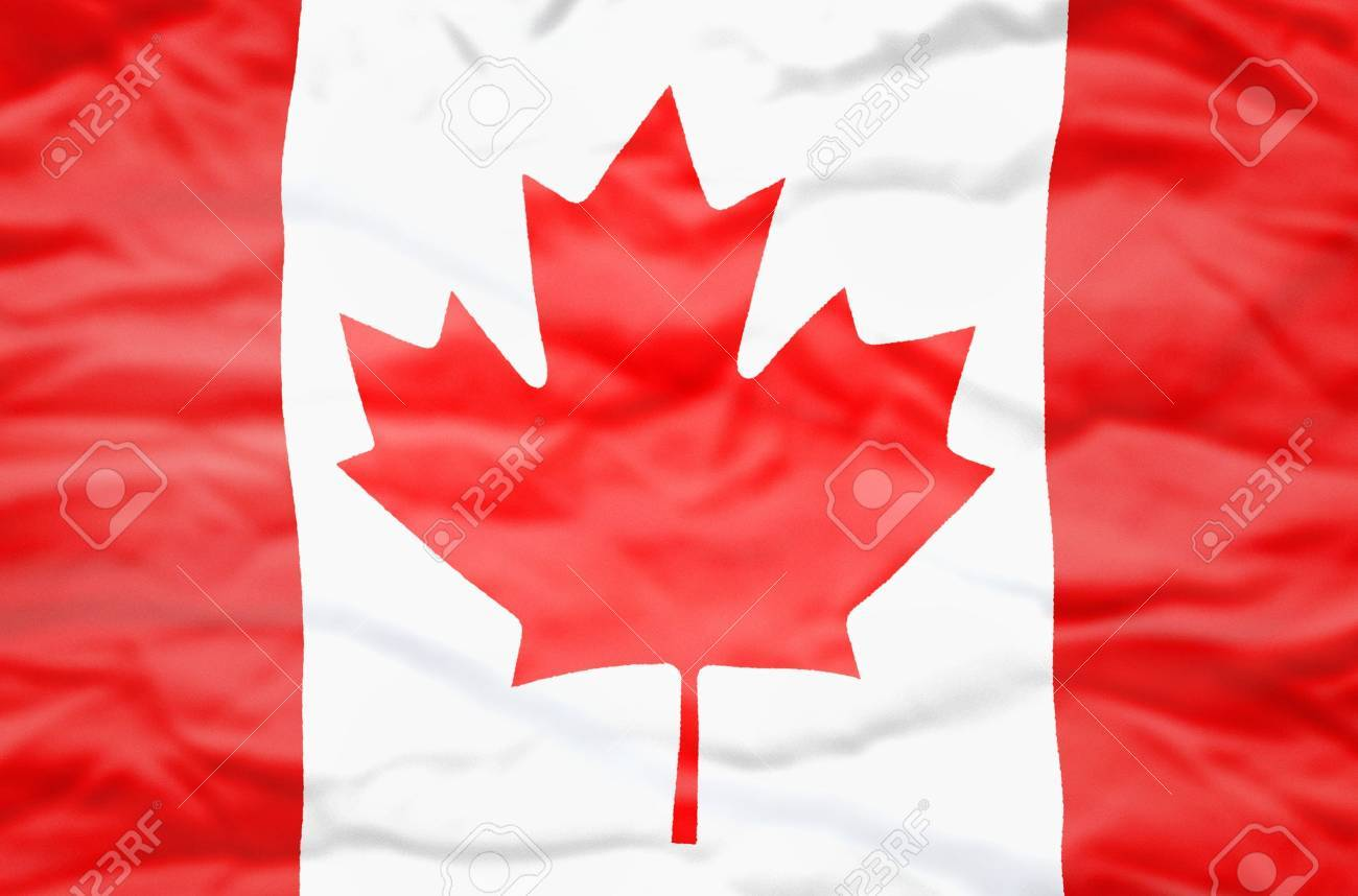 Canada Flag. Wavy Flag Of Canada Fills The Frame. Stock Photo ...